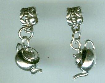 Siver  TEAPOT Charm for All Name Brand Add a Bead Charm Bracelets - 3 Dimensional