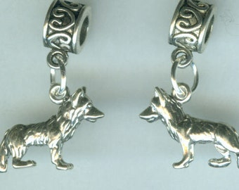 Sterling GERMAN SHEPHERD Dog Bead Charm for  all Name Brand Add a Bead Bracelets- 3D Heavy