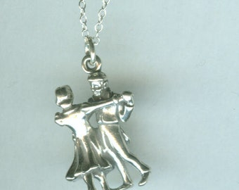 Sterling Silver TANGO DANCERS Pendant and 18 Inch Chain