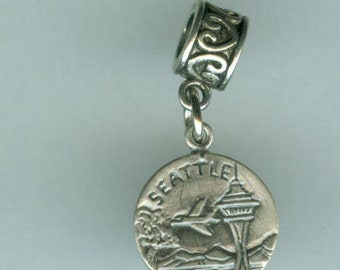 Sterling SEATTLE Bead Charm for all Name Brand Add a Bead Bracelets - Charm