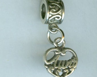 Sterling AUNT Bead Charm for all Name Brand Add a Bead Bracelets