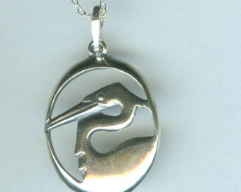 Sterling HERON BIRD Pendant with 20 Inch Chain -