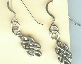 Sterling Silver CELTIC KNOT Earrings  - French Earwires -