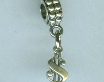 Sterling Silver DOLLAR SIGN Bead Charm for  All Name Brand Add a Bead Bracelets- Mini