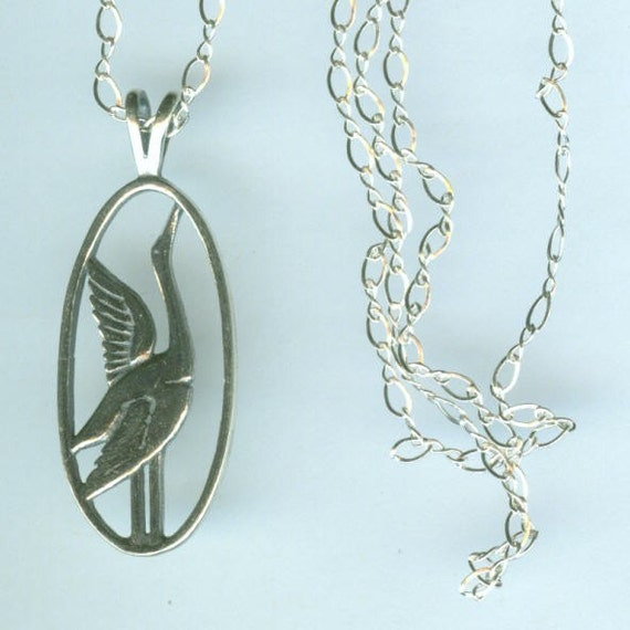 sterling heron bird pendant and chain