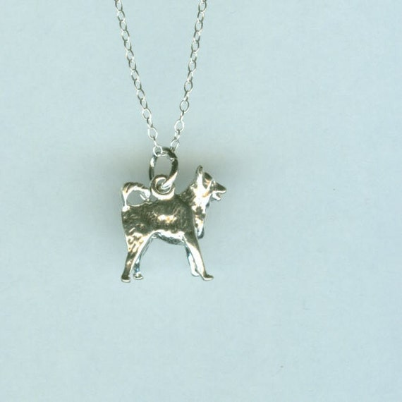 Sterling BORDER COLLIE Dog Pendant AND Chain