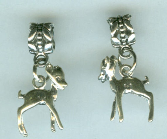 Sterling Silver BAMBI, DEER, FAWN Bead Charm for All Name Brand Add a Bead Charm Bracelets - 3D
