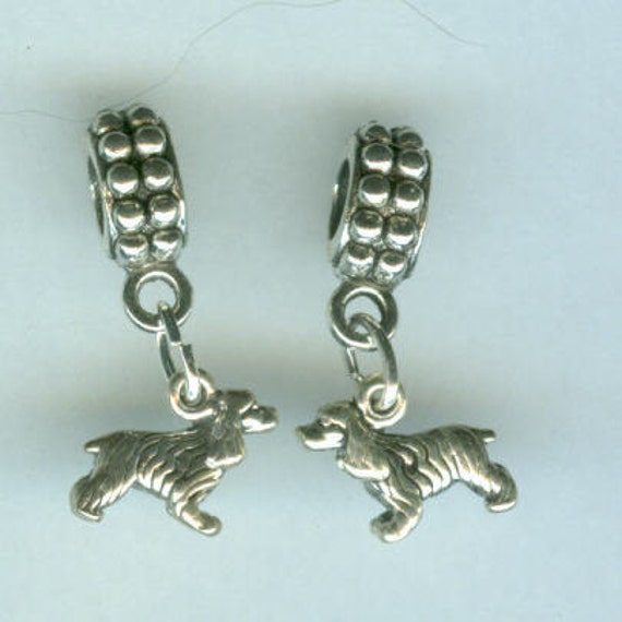 Sterling Silver COCKER SPANIEL DOG Bead for all Name Brand Add a Bead Bracelets - 3d Mini