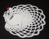 Vintage Handcrocheted Three Dimensional White Swan