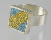 SALE - PLUS FREE SHIPPING - Val Damon Gilded Stucco Veneziano (Smooth Concrete) and Sterling Silver Ring (Turquoise Blue) Size11