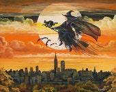 "Halloween Folk Art ""City Witch"" Witch Flying Over New York City Full Moon  PRINT Byrum Art MHA Team"