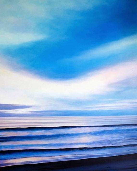 TWILIGHT II, Giclee, Print on Canvas, Select Size from drop down menu, Encinitas at Sunset, California, Ocean, Seascape, Near Swamis, CA