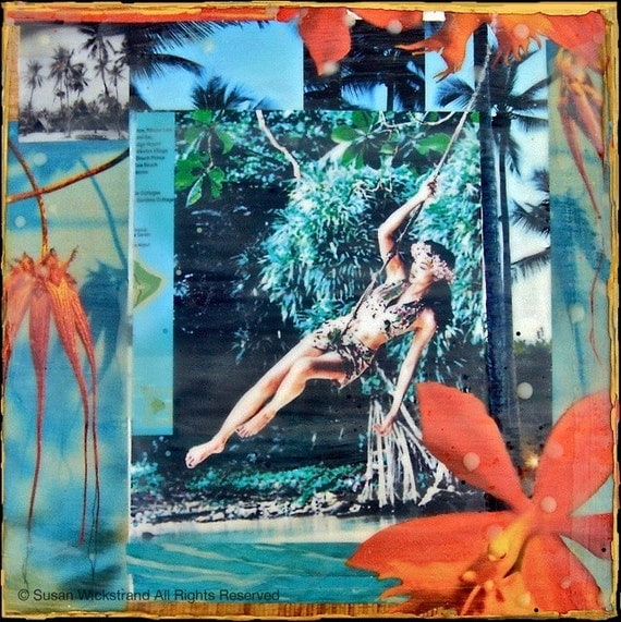 GLASSED, Island Girl Orchid, 4x4 and Up, re-collaged, hand-painted and glassed on wood panel, orchids, tropical, custom made