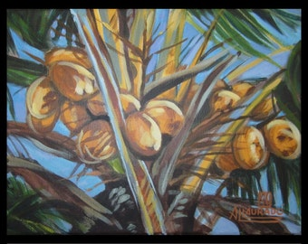 "Florida ""A bunch of Coconuts"" original acrylic painting"
