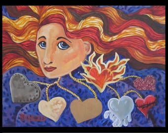 A Woman with many hearts original acrylic painting