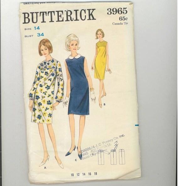 Vintage 1960s Misses Dress Pattern Butterick 3965 Size 12 Bust 34