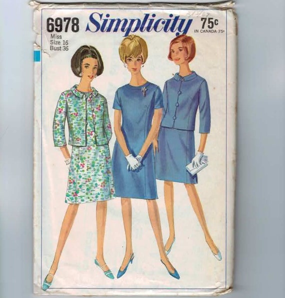 Vintage 1967 Misses Dress Pattern Simplicity 6978 Size 16 Bust 36