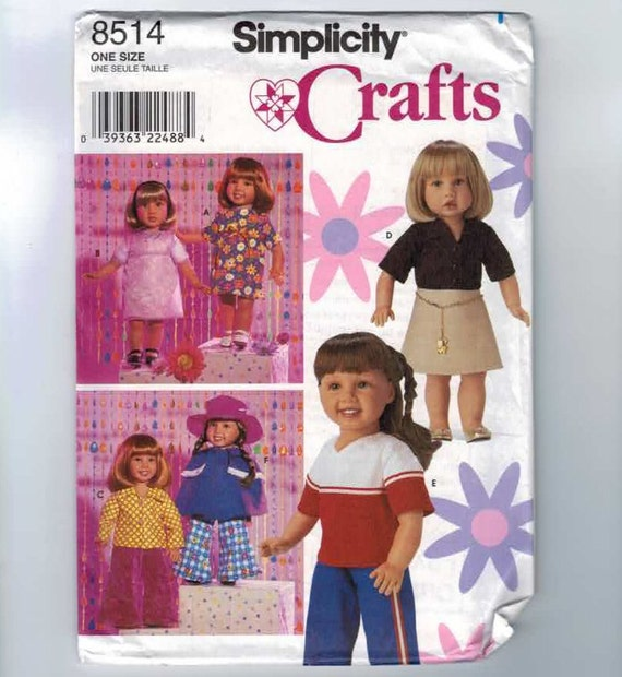 Simplicity 8214 American Girl Size Doll 18 Inch Doll Clothes Pattern UNCUT