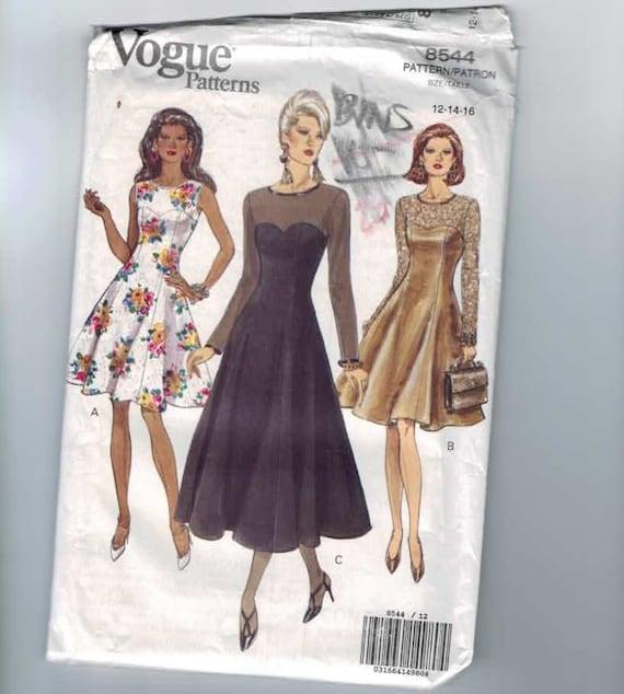 1990s Vintage Sewing Pattern Vogue 8544 Cocktail Dress Size 12 14 16 Bust 34 36 38 UNCUT 1992