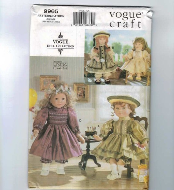 Doll Sewing Pattern Vogue 9965 18 Inch Doll American Girl Size Smocked Party Dresses Linda Carr Pattern UNCUT