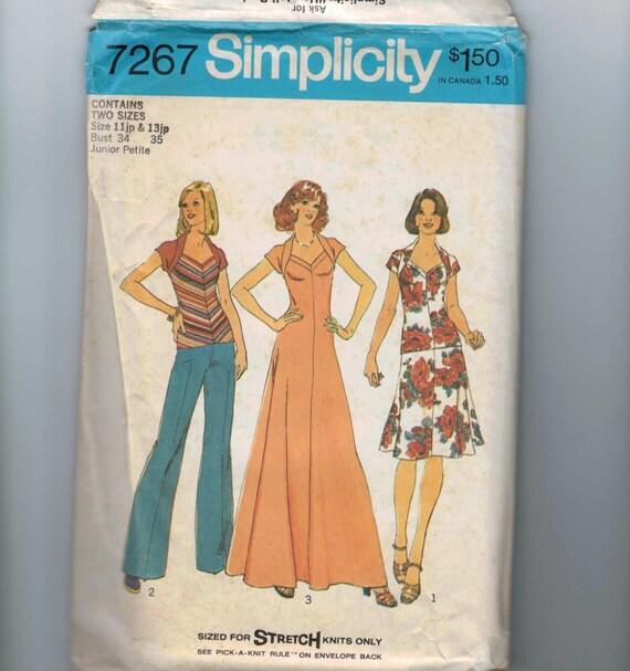 Vintage 1975 Juniors Dress Pattern Simplicity 7267 Size 13JP Bust 35