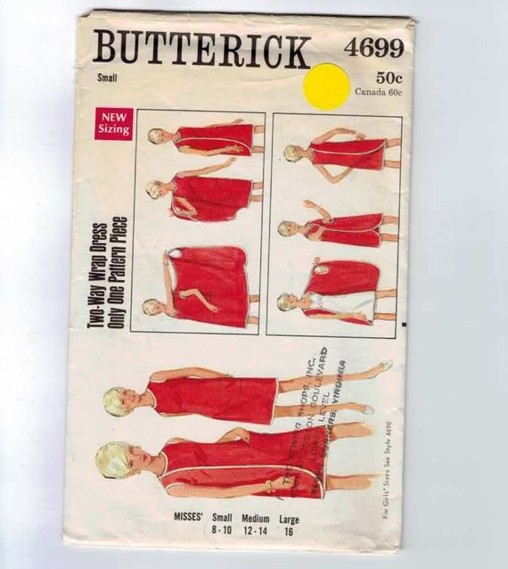 Vintage 1960s Three Arm Wraparounder Dress Butterick 4699 Size Small 8-10 Bust 31 1/2-32 1/2 NO INSTRUCTIONS