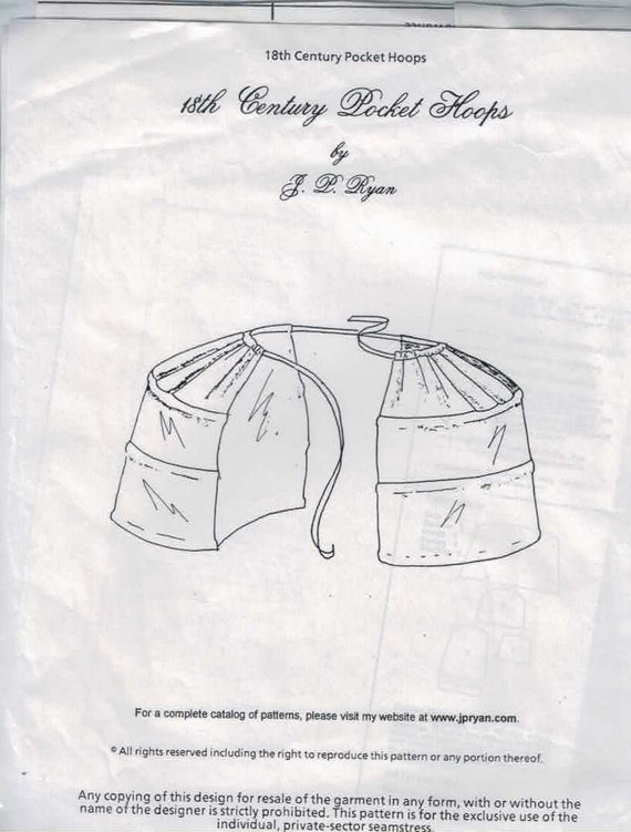 Costume Sewing Pattern Recollections of JP Ryan 18th Century Pocket Hoops Colonial Underwear One Size