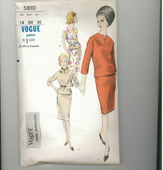 Vintage 1960s Misses Two Piece Dress Pattern Vogue young Fashionables 5810 Size 14 Bust 34