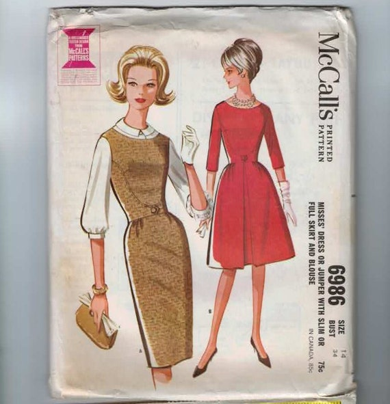 1960s Vintage Sewing Pattern McCalls 6986 Jumper Dress Size 14 Bust 34 1963