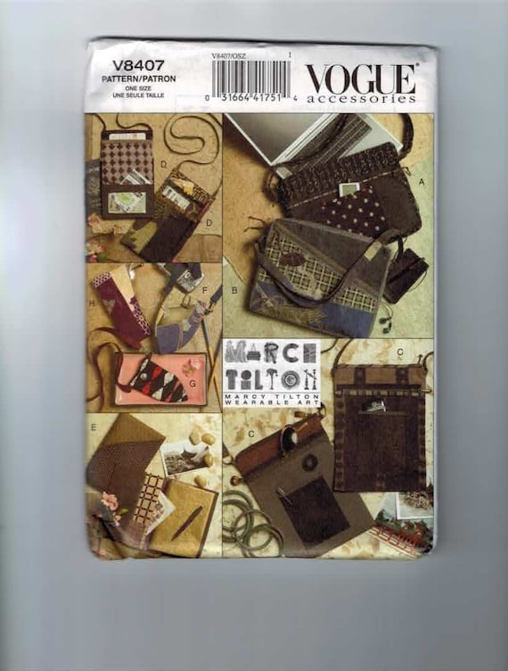 Craft Sewing Pattern Vogue V8407 Handbag Bag Purse Designer Eyeglass Case Journal Cover Marcy Tilton UNCUT
