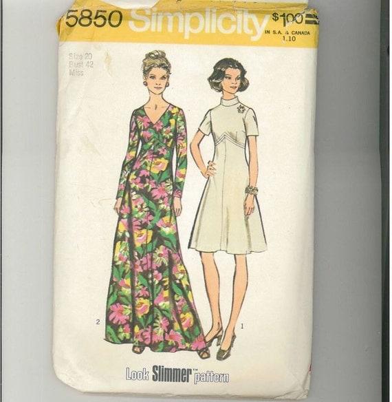 Vintage 1973 Misses Dress Pattern Simplicity 5850 Size 20 Bust 42  99