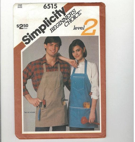 Simplicity 1984 Misses or Mens Apron Pattern Simplicity 6515 UNCUT