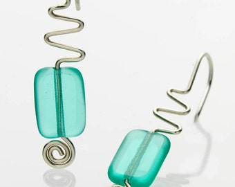 SALE Zig Zag Earrings Aqua Coloured Glass