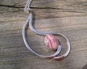 Rhodochrosite Pendant set in Argentium Sterling Silver