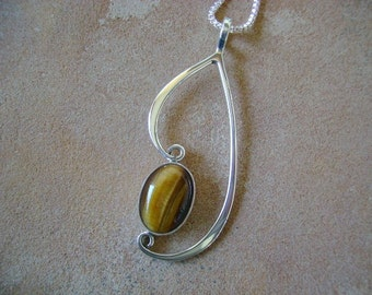 Tiger's Eye and Forged Sterling Silver Pendant