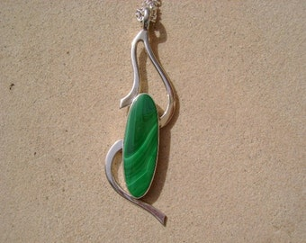 Malachile Pendant in Forged Sterling Silver