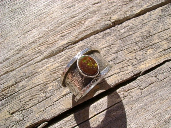 Fire Agate Ring set for a Queen - Size 9 1/2 - Reserved for ModernRevival -