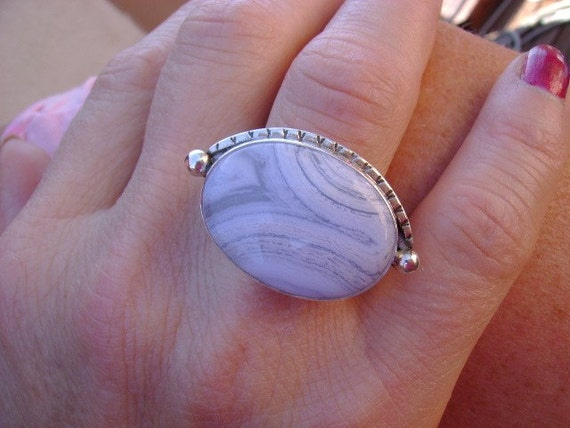 Blue Lace Agate Cocktail Ring - Size 7.5