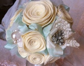 Brooch Bridal Wedding Bouquet Handmade Roses with vintage brooch and laces-or custom order