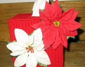 Pointsetta Tissue Box Cover,Christmas Decoration
