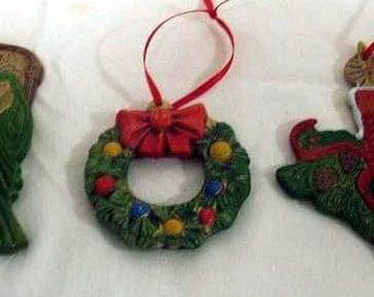 Pre Christmas Sale Set of 3 Ceramic Christmas Ornaments Vintage Look (Set 2)
