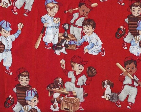 Baseball little league boys print cotton fabric alexander for Little boy fabric