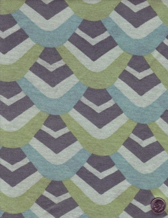 Art deco style fish scales print jersey cotton fabric for Art deco style fabric