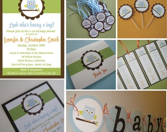Party Pack - Owl Theme Birthday Party or Baby Shower