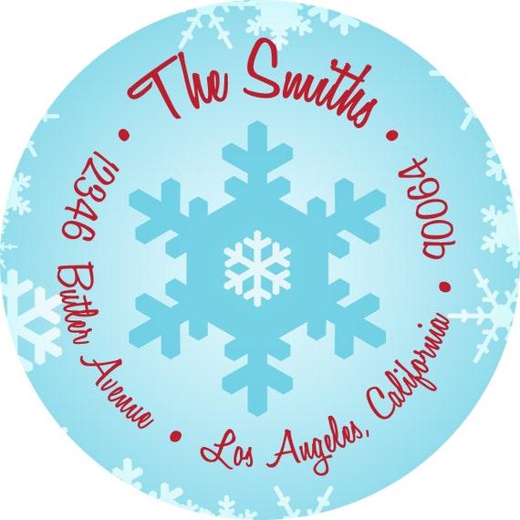 Snowflake Winter Wonderland Holiday Address Labels - Circle Stickers