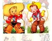 Lil Cowpokes...Western...Cowboy...Digital Collage Sheet