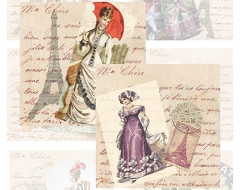 French Fashion on French Letter...Digital Collage Sheet - Scrapbook, Card, ATC, ACEO, Craft