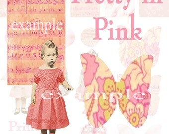 Pretty In Pink . . . Altered Art . . . Digital Collage Sheet...Mixed Media