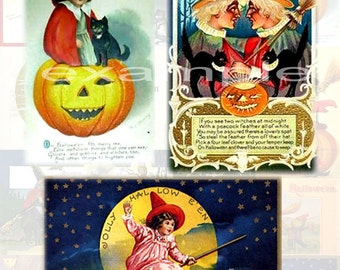 Halloween...Vintage Witch Cards...Digital Collaage Sheet  2