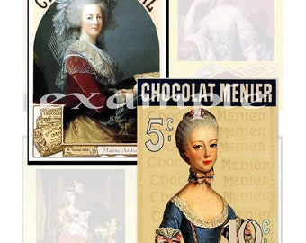 French...Marie Antoinette Chocolate Ads...Digital Collage Sheet - Altered Art, France, ATC, Scrapbook, Card